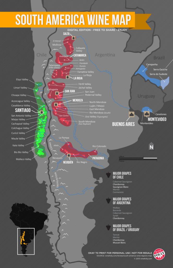 kaart van wijnbouw Zuid-Amerika