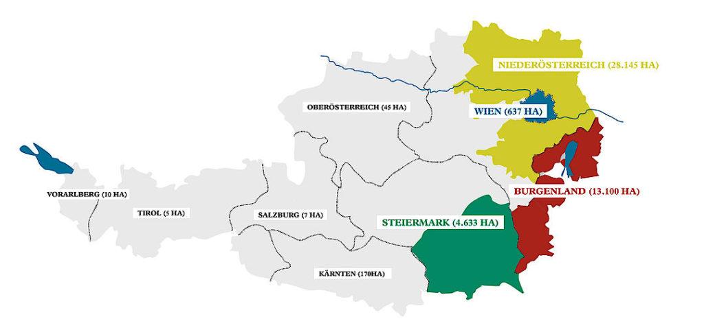 kaart wijnland Oostenrijk