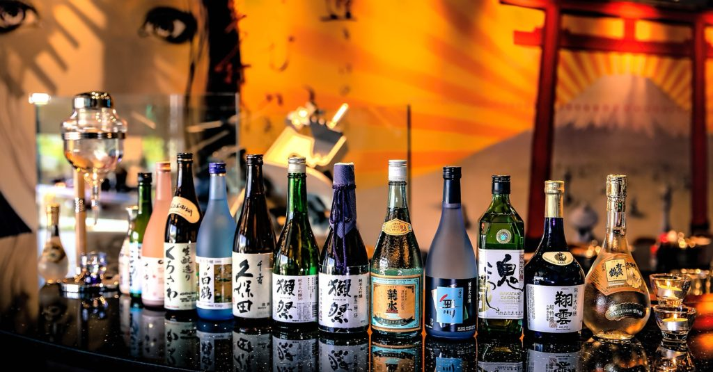 various bottles of sake