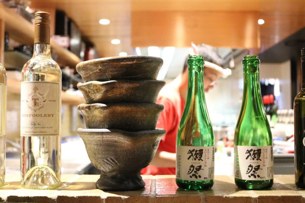 sake and wine bottles