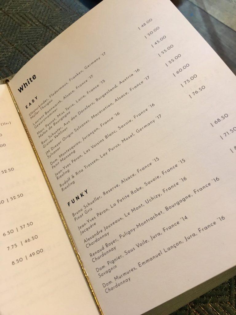 Wijnkaart restaurant Guts