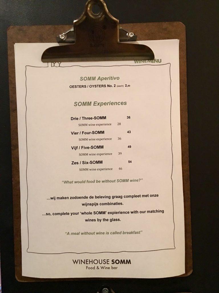 menukaart Winehouse SOMM